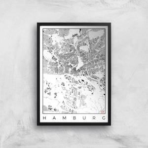 Affiche Carte de Hambourg (Noir et Blanc)