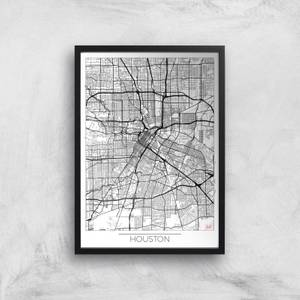 City Art Black and White Outlined Houston Map Art Print