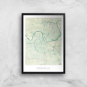 City Art Coloured Nashville Map Art Print
