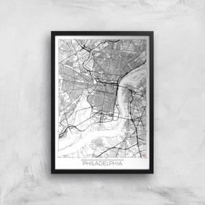 City Art Black and White Outlined Philadelphia Map Art Print