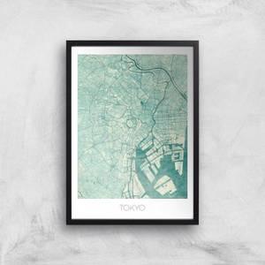 City Art Coloured Tokyo Map Art Print