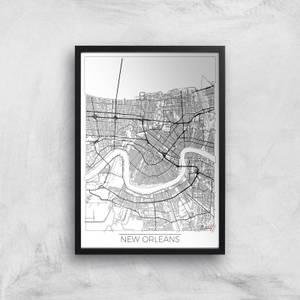 Affiche Carte de New Orléans (Noir et Blanc)