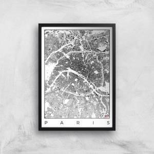 City Art Black and White Paris Map Art Print