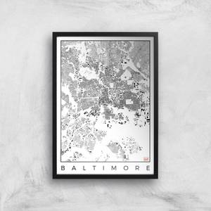City Art Black and White Baltimore Map Art Print