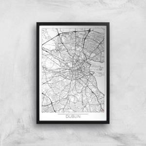 Affiche Carte de Dublin (Noir et Blanc)