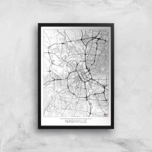 City Art Black and White Outlined Nashville Map Art Print
