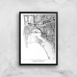 Affiche Carte de San Diego (Noir et Blanc)