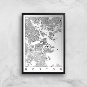 City Art Black and White Boston Map Art Print