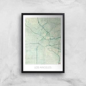 City Art Coloured Los Angeles Map Art Print