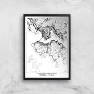 City Art Black and White Outlined Hong Kong Map Art Print
