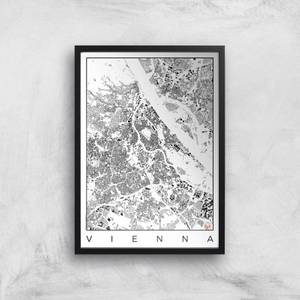 City Art Black and White Vienna Map Art Print