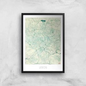 Affiche Carte de Leeds (Couleur)