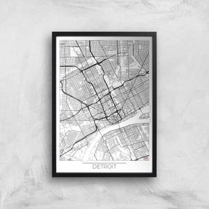Affiche Carte de Detroit (Noir et Blanc)