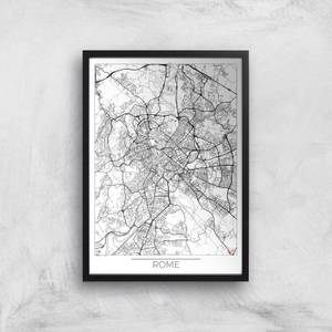 Affiche Carte de Rome (Noir et Blanc)