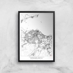 Affiche Carte d'Edimbourg (Noir et Blanc)
