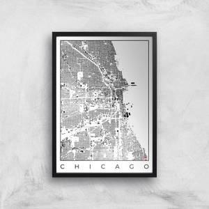 Affiche Carte de Chicago (Noir et Blanc)