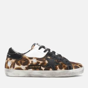 Golden Goose Deluxe Brand Women's Superstar Leather Trainers - Golden Goose Leopard/Patch Black Star