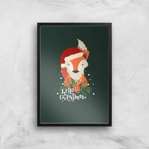 Christmas Fox Hello Christmas Art Print