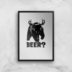 Beer Bear Deer Art Print