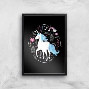 Blue Unicorn Art Print