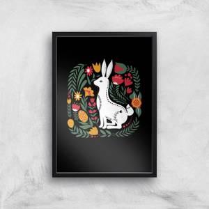 Scandi Rabbit Pattern Art Print
