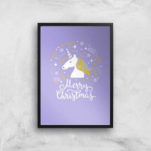Unicorn Christmas Head Art Print