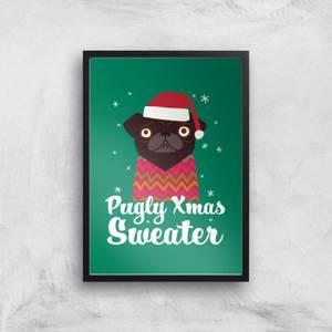 Pugly Xmas Sweater Art Print