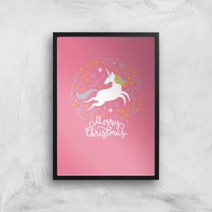 Unicorn Christmas Body Art Print