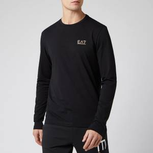 Emporio Armani EA7 Men's Small Logo Long Sleeve Top - Black/Gold