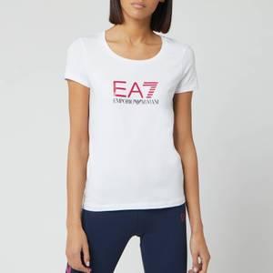 Emporio Armani EA7 Women's Basic Logo T-Shirt - White/Pink