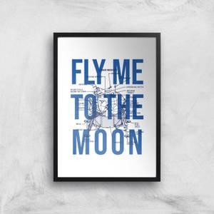 Fly Me To The Moon Blue Print Art Print