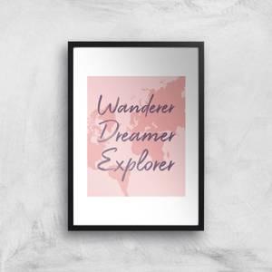 Wander Dreamer Explorer With Map Background Art Print