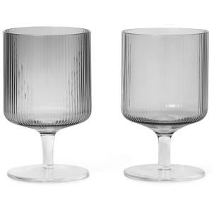 Ferm Living Ripple Wine Glasses - Smoked Grey (Set of 2)