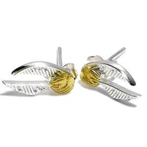 Harry Potter Sterling Silver Golden Snitch Stud Earrings