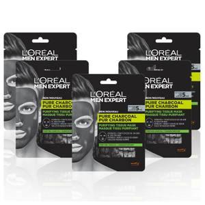L'Oréal Paris Men Expert Pure Charcoal Face Mask x5 (Worth £19.95)
