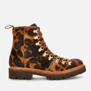 Grenson Women's Nanette Leopard Print Pony Hiking Style Boots - Brown