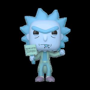 Rick & Morty Hologram Rick Protestor GITD EXC Pop! Vinyl Figure