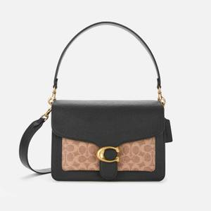 Coach Women's Canvas Leather Tabby Shoulder Bag - Tan Black