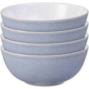 Denby Natural Denim 4 Piece Textured Cereal Bowl Set