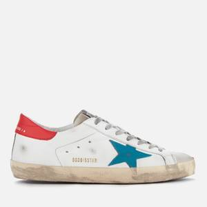 Golden Goose Deluxe Brand Men's Superstar Trainers - White Leather/Blue Star/Red