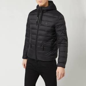Armani Exchange Men's Padded Hooded Jacket - Black/Grey Melange