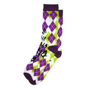 DC Comics The Joker Crew Socks - Argyle Purple and Green