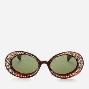 Gucci Women's Oval Diamante Acetate Sunglasses - Havana/Green