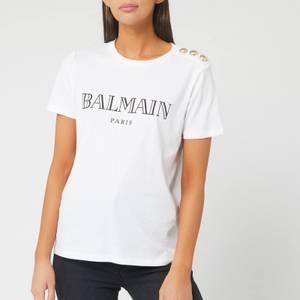 Balmain Women's Short Sleeve 3 Button Vintage Logo T-Shirt - White/ Black