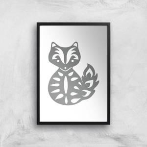 Folk Silhouette Fox Cutout Art Print