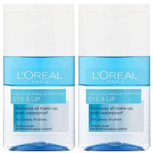 L'Oréal Paris Absolute Make-Up Remover Eye and Lip 125ml 2 Pack Exclusive