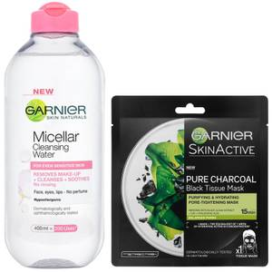 Garnier Micellar Water Sensitive Skin and Hydrating Face Sheet Mask for Enlarged Pores Kit Exclusive (Worth £8.98)