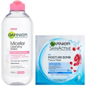 Garnier Micellar Water Sensitive Skin and Hydrating Face Sheet Mask for Dehydrated Skin Kit Exclusive (Worth £8.98)