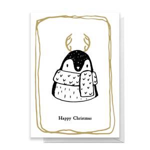 Happy Christmas Penguin Greetings Card