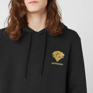 Harry Potter Gryffindor Unisex Embroidered Hoodie - Black